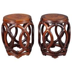 Pair of Chinese Hardwood Garden Seats