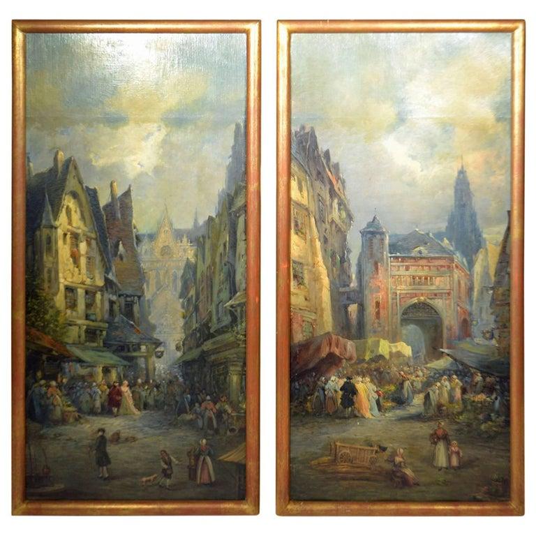 Oil on Canvas Merchant Street Scene, Rouen, France For Sale