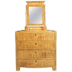 19th Century Empire Bow-Front Chest with Mirror in Burled Olivewood and Ebony