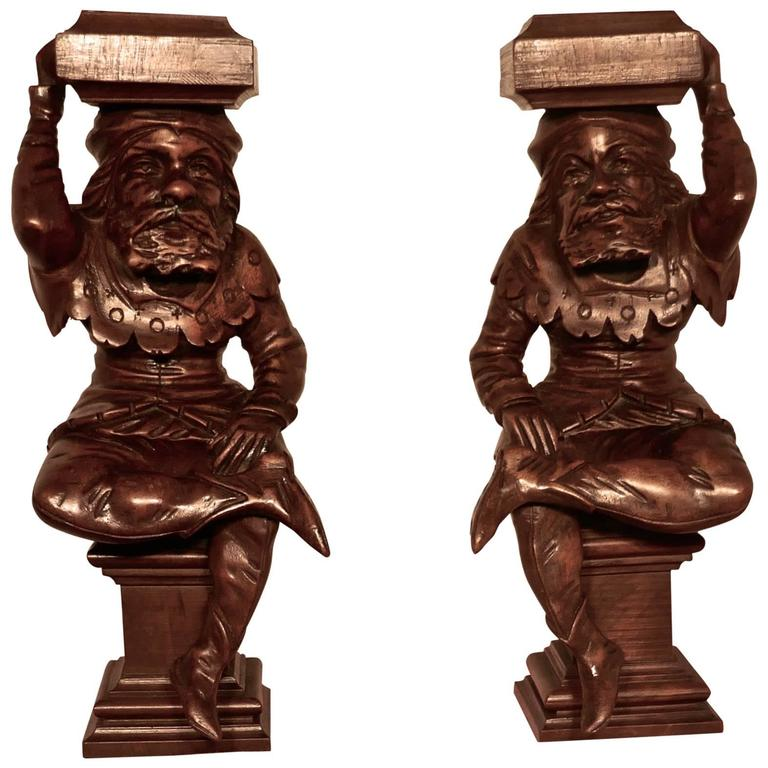 Pair of Early 19th Century Carved Walnut Figures of Court Jesters