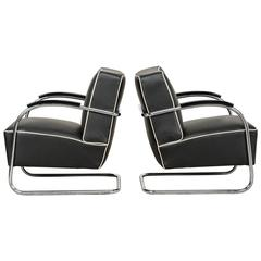Pair of Tubular Steel Bauhaus Armchairs by Mücke & Melder, 1930s