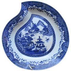 Peach Shaped Chinese Blue and White Porcelain Charger