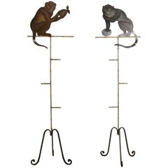 Pair of Painted Metal Monkey on Stands