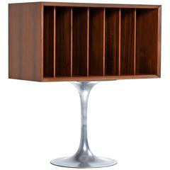 Mid-Century Modern Record Cabinet with Pedestal Base