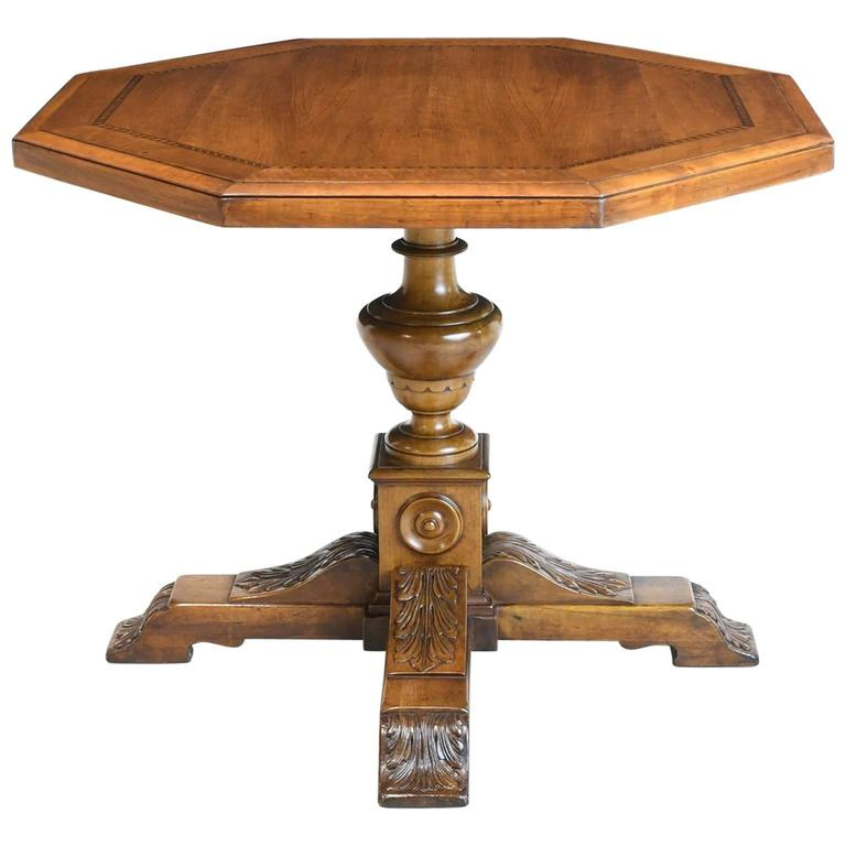 Belle Époque Table with Inlaid Octagonal Top over Carved Pedestal Base