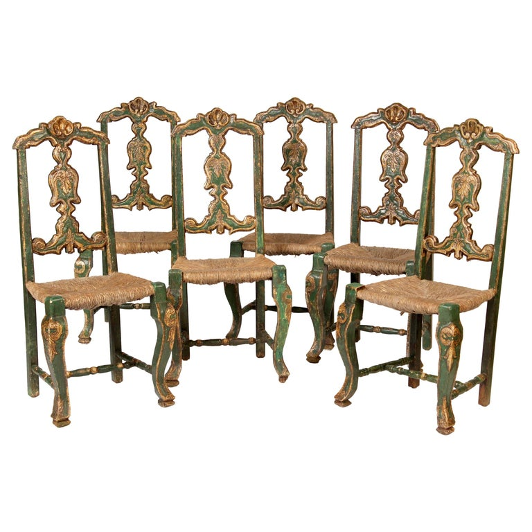Set of Six Painted Continental Dining Chairs For Sale