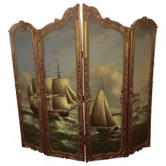 Large Beautiful Gilded French Four Panel Screen Nautical Painting, 19th Century