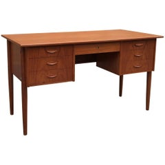 Danish Modern Teak Desk with Finished Display Shelf Front