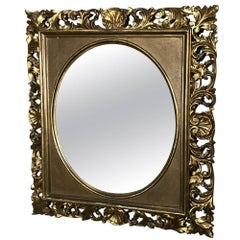 19th Century French Baroque Hand-Carved Giltwood Mirror, circa 1890