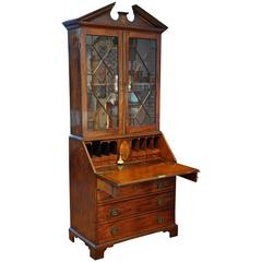 Period George III Chippendale Mahogany Secretary Bookcase