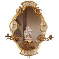 19th Century Victorian Aesthetic Gilt Bronze German Porcelain Mirror