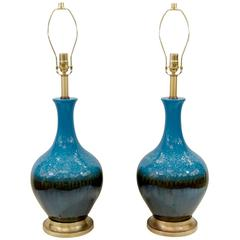 Pair of Blue and Graphite Drip Glaze Table Lamps