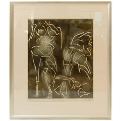 """Three Figures"" Etching by Hugo Lutz"