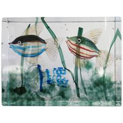 Alfredo Barbini Murano Glass Aquarium Block