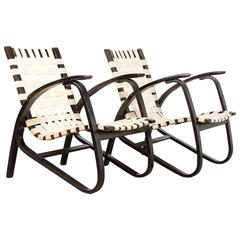 Pair of Bentwood Lounge Chairs by Jan Vanek, Czechoslovakia, 1930s