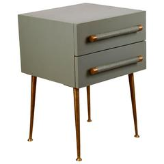 Two-Drawer Bedside Table with Brass Legs and Wicker and Brass Handles