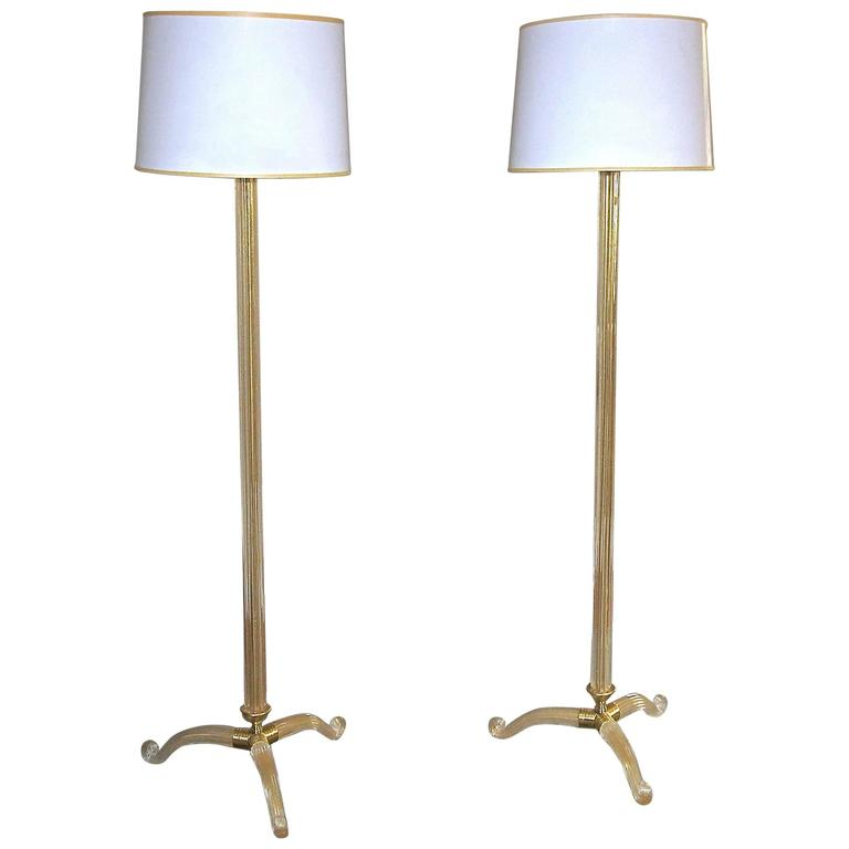 murano gold and clear glass tripod floor lamps for sale at 1stdibs. Black Bedroom Furniture Sets. Home Design Ideas