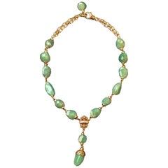 Green Aventurine Nugget Lariat Necklace