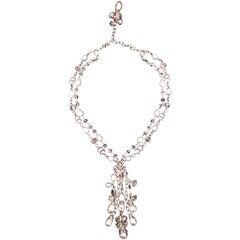 Aquamarine and Pearl Lariat Necklace