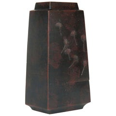 Handsome Japanese Bronze Squared Vase