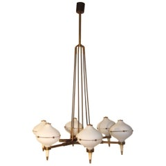 Round Black and Gold Brass Italian Chandelier Stilnovo Style 1950s Murano Glass