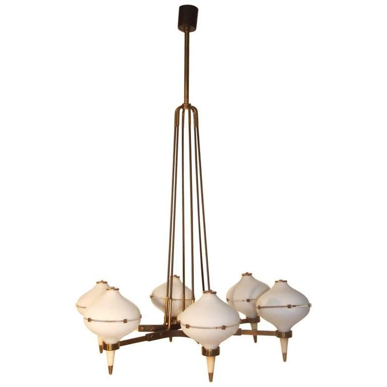 Round Black and Gold Brass Italian Chandelier Stilnovo Style 1950s Murano Glass  For Sale