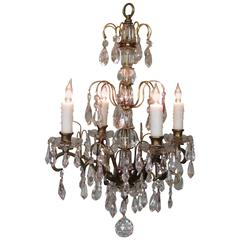 Small Early 20th Century Italian Bronze and Crystal Waterfall Chandelier