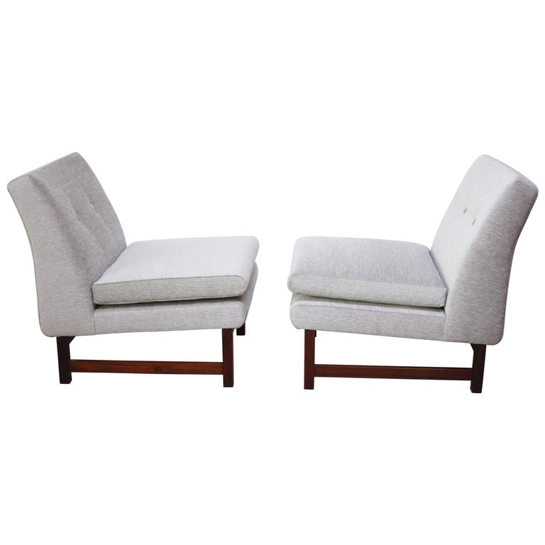 Pair of Norwegian LK Hjelle Slipper Chairs in Chenille and Rosewood 1