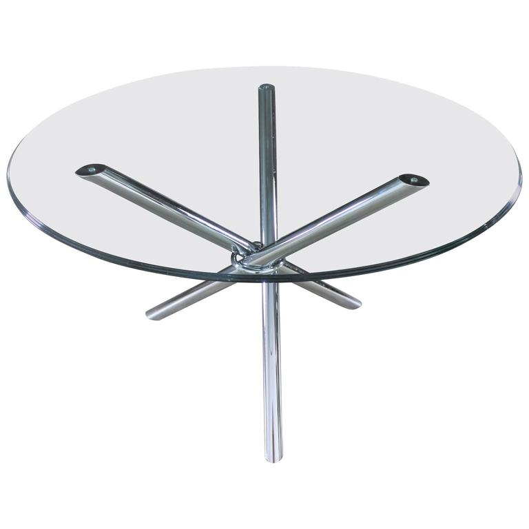 Mid-Century Modern Chrome Tripod Jacks Dining Table in Style of Milo Baughman
