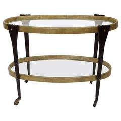 Parchment and Mahogany Bar Cart by Aldo Tura