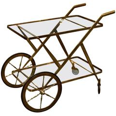 Vintage Italian 1950s Brass and Glass Bar Cart