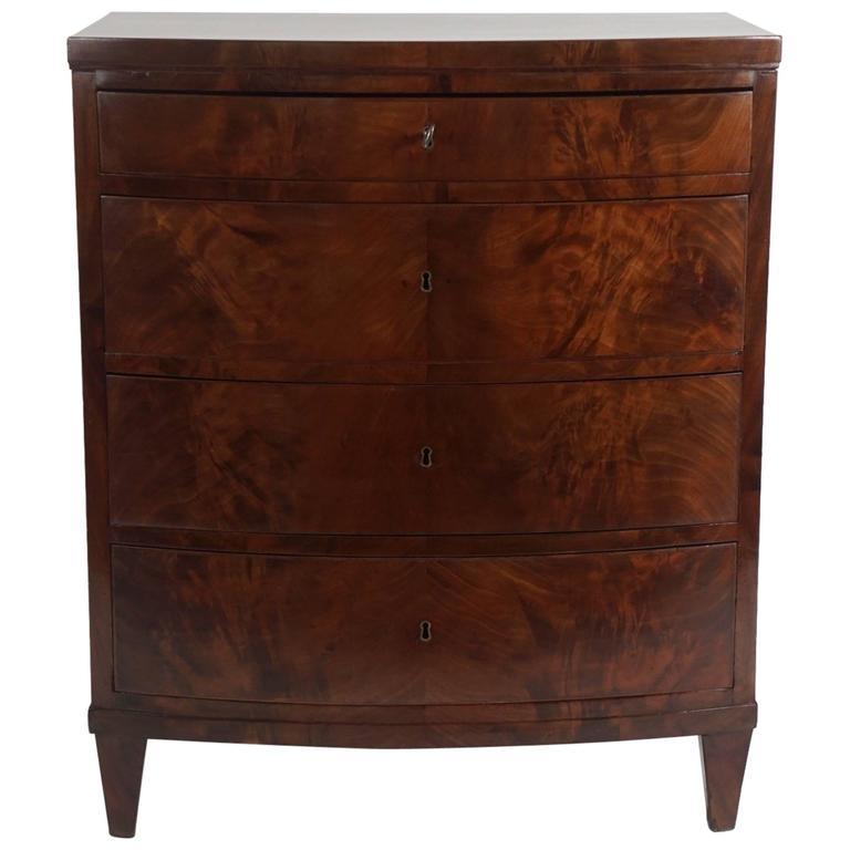 Mahogany Bow Front Bacheloru0027s Chest, Denmark, Circa 1820 For Sale