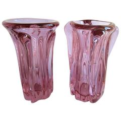 Pair of Cenedese Alexandrite Murano Glass Vases