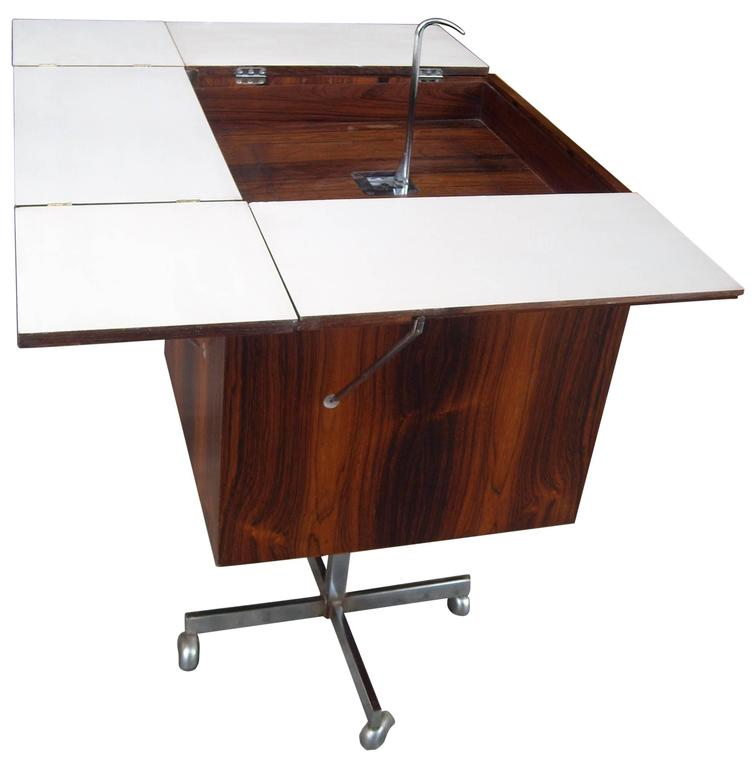 Rosewood and Chrome Cube Dry Bar, Cart, Trolley by Georg Petersens 1
