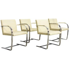 1928, Ludwig Mies van der Rohe, Early Knoll Set Brno Chairs in Crème Leather