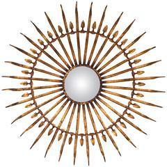 Gilt Metal Sunburst Convex Mirror