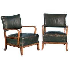 Pair of Vintage Danish Green Leather Armchairs