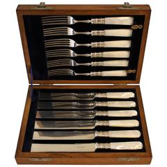 Sheffield Silver Plated Cutlery with Mother of Pearl Handles
