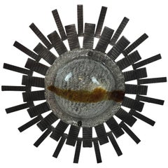 Brutalist Mid-Century Starburst Sunburst Flush Mount or Sconce