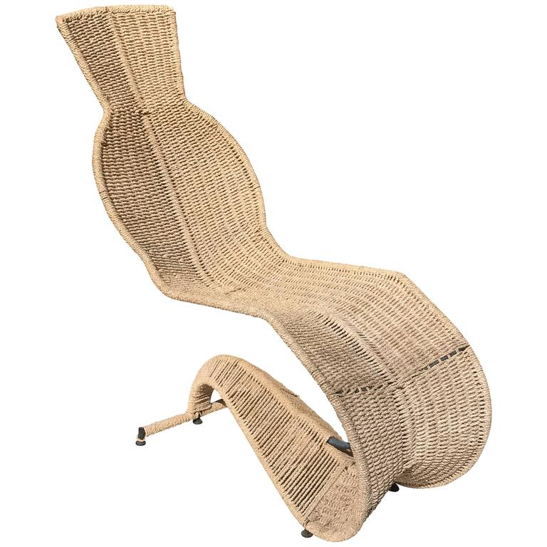 Sculptural woven rope chaise longue for sale at 1stdibs for Chaise longue for sale