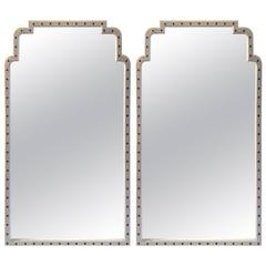 Pair of Parzinger Style Mirrors with Jeweled Surround