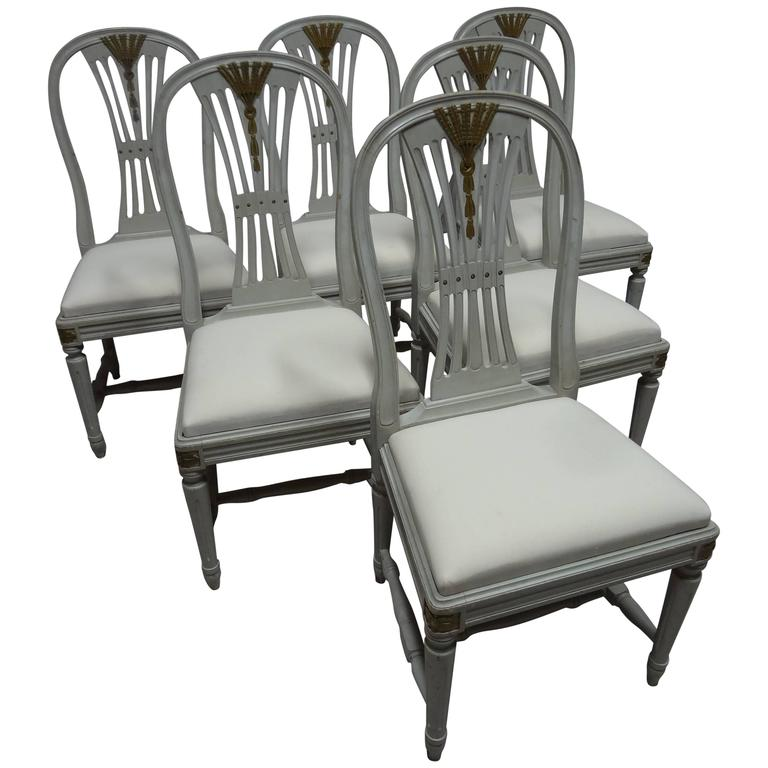 Six Original Painted Swedish Gustavian Side Chairs