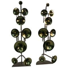 Exceptional Pair of Italian Trumpet Form Floor Lamps in the Manner of Stilnovo