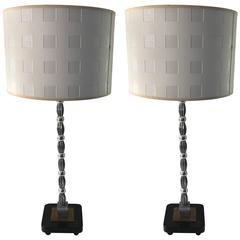 Pair of Wiener Werkstätte Style Table Lamps with Custom Shades