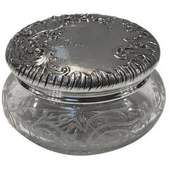 French Sterling and Engraved Hinged Dresser Box