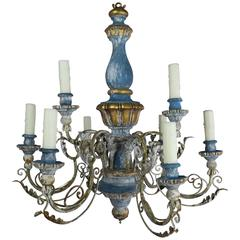 Italian Painted and Parcel Gilt Chandelier, circa 1900