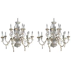 Pair of Sixteen-Light Italian Painted Chandeliers