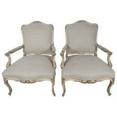 French Louis XV Style Parcel-Gilt Armchairs, Pair