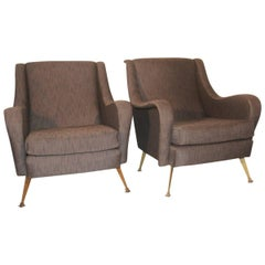Pair of Mid-Century Italian Design Armchairs Marco Zanuso Style