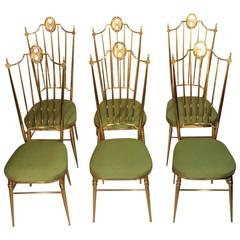High Back Chairs, Mid-Century Italian Design in Gio Ponti Style